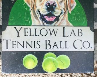 "Yellow Lab Tennis Ball Co. 12x12"" fine art print of original art, ready to hang"