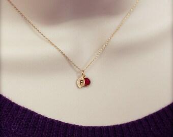 Birthstone personalized necklace initial mothers necklace charm birthstone necklace  mom grandmother kids children jewelry birth stone /321