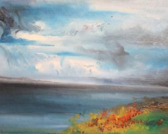 Vintage oil painting impressionist seascape landscape