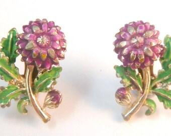 Vintage Enamel Chrysanthemum Flower Clip On Earrings By Exquisite