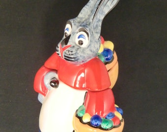 Ditmar Urbach Czechoslovak Pottery Bowl/Dose Easter Bunny baskets with painted eggs - RARE -