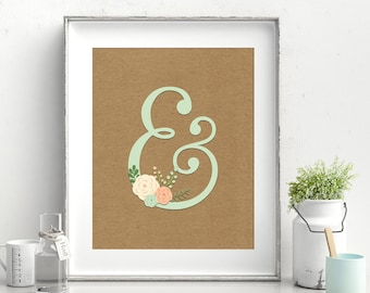 Rustic Floral Ampersand Craft Paper Print - Instant Download