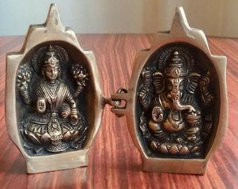 "Hindu goddess of knowledge ""Saraswati""& Elephnat God Ganesh Namaste Figurines"