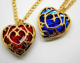 Legend of Zelda - Heart container necklace - link nintendo triforce hp pendant chain gift boss fight Bowl of Hearts mana health HP MP