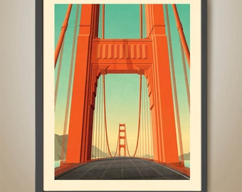 Golden Gate Bridge. San Francisco Print. USA. Art Deco Bridge. California Poster.