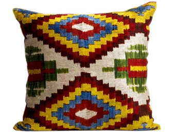 Large hand loomed Silk Velvet Accent Pillow. Down feather insert included.