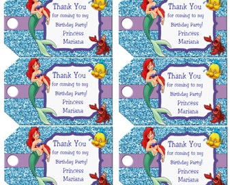 Little Mermaid Favor Tags Ariel Birthday Party Favor Tags Disney Little Mermaid Favor Tags Instant Download