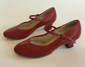 Vintage Red Leather Coast Pumps Square Dancing size 8