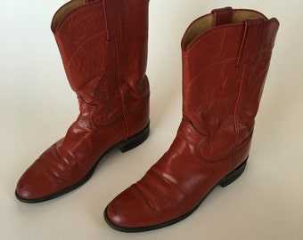 Cherry Red Justin Roper Cowboy Boots Women's size 6.5 7