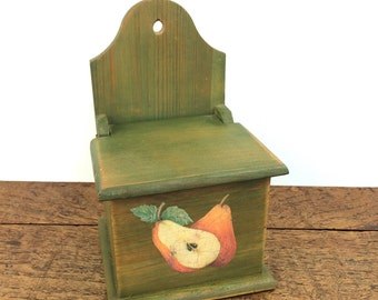 Vintage dark green stained wood salt cellar box with lift up lid and  decoupage pear motif