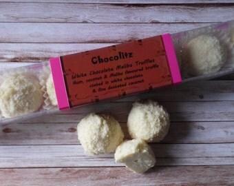 Stick Pack 8 White Chocolate Malibu Truffles - Personalised Gift