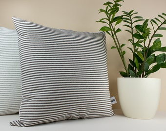 Black and White Stripe Linen Cushion Cover  - Decorative Cushion Case - Linen Pillow Cover - Linen Home Decor - Stripe Cushion-Black Cushion