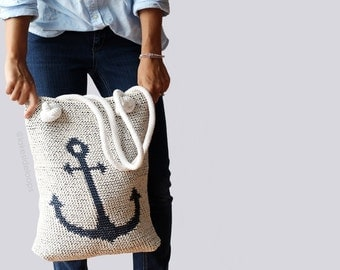 Crochet Pattern - Emery Anchor Bag/Purse by Lakeside Loops (reversible tote + crocheted rope handles)