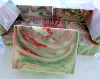 Peppermint and mistletoe holiday soap cold process soap stocking stuffer red and green moisturizing soap bath and beauty fru swirled soap