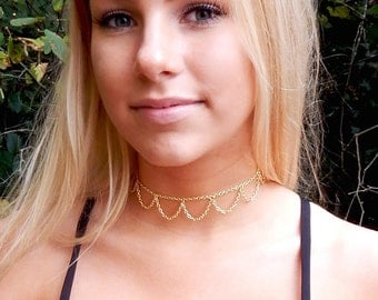 Gold Boho Scalloped Chain Choker Necklace