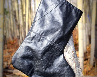 SALE! Upcycled Black Leather Stocking - A3