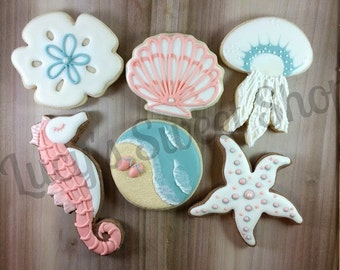Beach Cookies - Ocean Cookies, Jellyfish, Sand dollar, Sea Shell, Seahorse, Starfish, Beach, Flip Flops