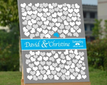 Hearts Wedding Guest Book Wedding Guest Book Alternative Personalized Wedding Guest Book Unique Wedding Guestbooks Grey & Canal Blue-Canvas