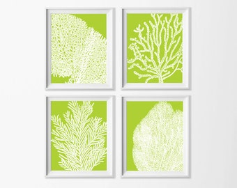 Lime Coral Wall Art , Beach Art Printable , Lime Green Wall Art , Coastal Wall Art Nursery , Large Beach Art , Nursery Nautical Art Sea