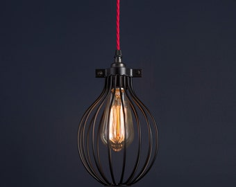 Vintage Industrial Retro Antique Balloon Cage Pendant Light Kit with Edison Filament Bulb
