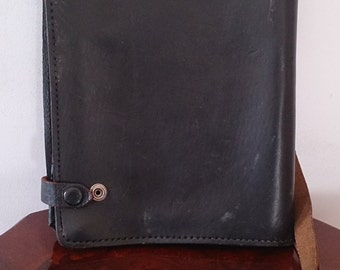 Vintage Across Body Military Report Map Bag Messenger Black Thick Leather RARE