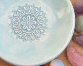 Ring Dish - Trinket Dish - Jewelry Dish - Aqua Flower Pastel Ceramic