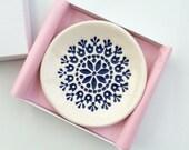 Ring Dish - Trinket Dish - Jewelry Dish - Ceramic Blue Flower