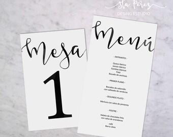 Pack waiters in numbers and Menu lettering wedding