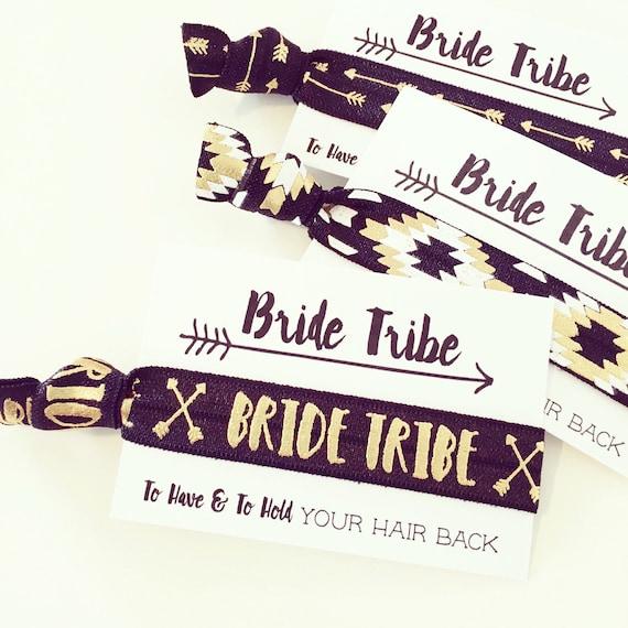 Bride Tribe Hair Ties | Black + Gold Bride Tribe Bachelorette Hair Tie Favor, Black White Gold Boho Bachelorette Hair Ties, Bridesmaid Gift