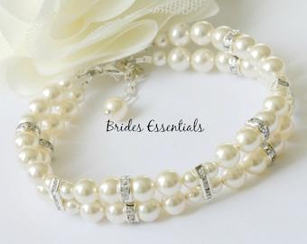 Wedding Bracelet, Bridal Bracelet, Two strand Pearl Bracelet, Multi Strand, Swarovski Pearl, Ivory Gold  White Champagne, Choice of Colors