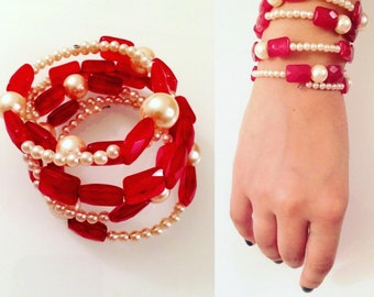 Pearly white and Ruby red memory wire bracelet