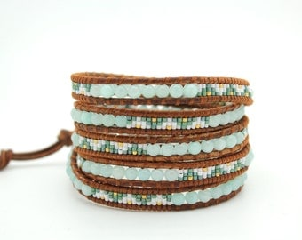 Beaded Wrap Bracelet on Natural Dark Brown Leather