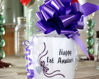 Paper Anniversary Gift ~ First Anniversary Toilet Roll, Embroidered Design