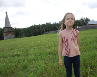 Beautiful Felted Tunic for little girl Pink tunic with leaves for a little fashionista