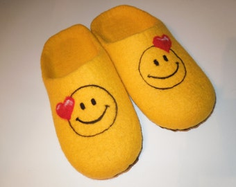 Felted slippers. Smiles. Handmade warm soft House shoes. Wool 100% Womens slippers Handmade slippers Woolen clogs Handmade