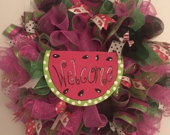 Welcome watermelon wreath