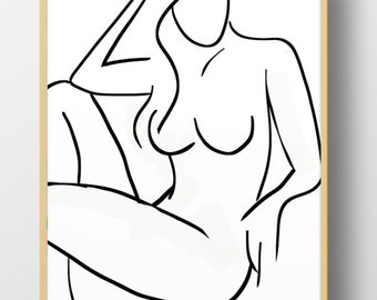 Woman Figure Painting, Minimal Wall Art, black and white, A4, Printable Abstract Art, modern, life drawing, Scandinavian, hand painted