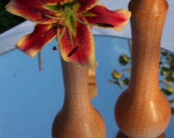 Set of Bud Vases, Oak wood, Hand-Turned