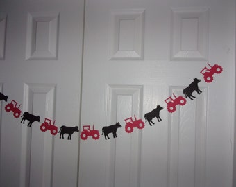 Tractor, Cow Garland Red, Black Cardstock Paper Bunting Banner Farm Birthday Baby Shower Hanging Decoration