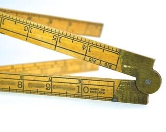 Vintage Brass & Boxwood Measure Made in England Carpenters Folding Rule Vintage Ruler Vintage Measure 2ft Rule 24 Inches