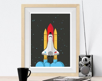 NASA Space Shuttle Ship Outer Space,  Art Print Poster, Illustration