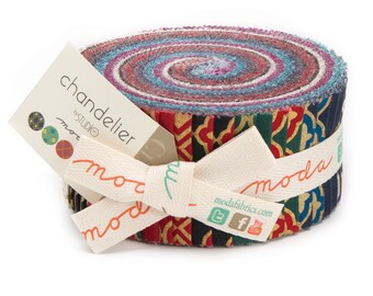 Chandelier Metallic Jelly Roll by Studio M for Moda, 32987JR, Forty strips of color coordinated fabric