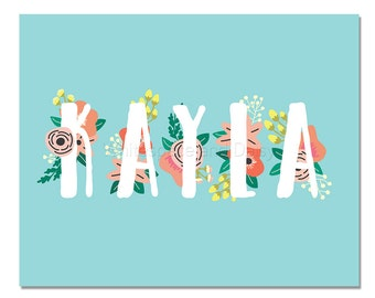 Kayla Personalized Name Sign Printable Art Printable Wall Art Birthday Party Decor Baby Name Sign Party Printable Party Decorations