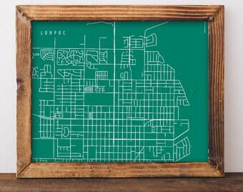Lompoc Map Lompoc Art Lompoc Map Art Lompoc Print Lompoc Printable Lompoc City Art Lompoc City Map California Art