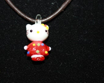 A3 Hello Kitty Lampwork Glass Bead Red Dress Necklace