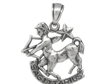 ON SALE Sagittarius Pendant Charm Sterling Silver .925 Oxidized Vintage Look Handmade Made In USA