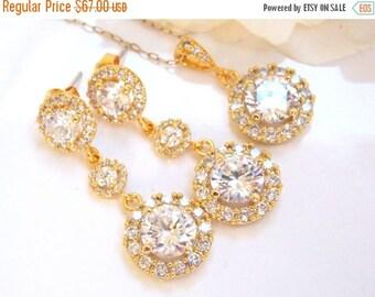 SALE Wedding Jewelry Set, Gold, Earrings and Necklace Set, Cubic Zirconia, Bride Pendant Set, Bridesmaid Earrings, Dangle, Long,Bridesmaids