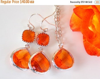 SALE Wedding Jewelry, Bridesmaids Set of Earrings and Necklace, Bridesmaids Gifts, Brides Gifts, Earrings and Necklace Orange,Tangerine,Carn