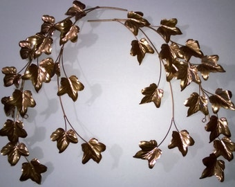 Copper Leaves Wall Decor Metal Home Interior Set of Two