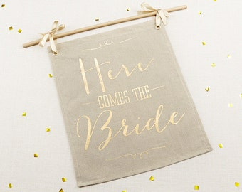 Gold Foil Here Comes the Bride Sign Garden Wedding Ceremony Burlap Signage Glam Script Whimsical Flower Girl Ring Bearer Props Photo Op